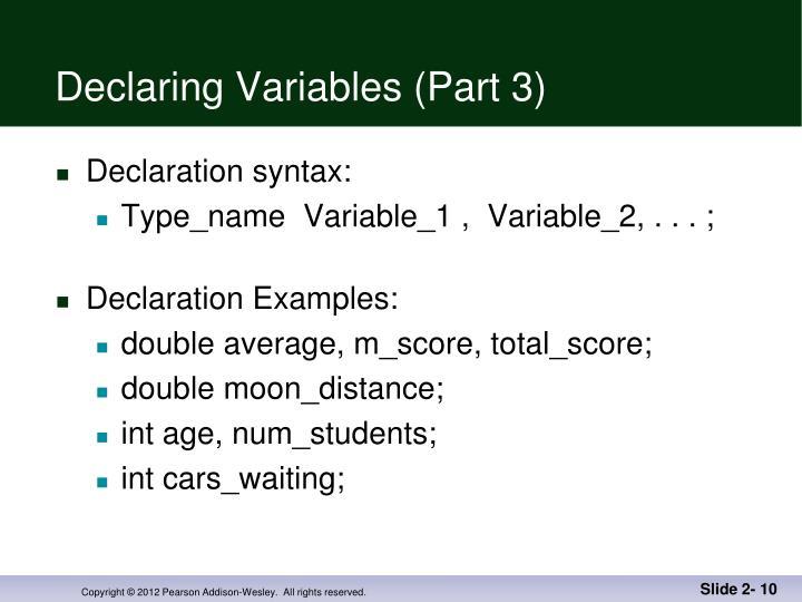 Declaring Variables (Part 3)