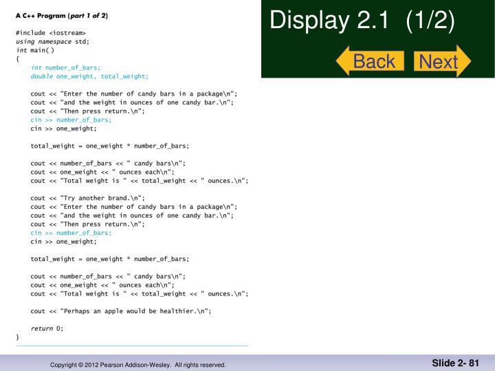 Display 2.1  (1/2)