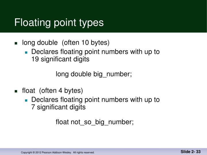 Floating point types
