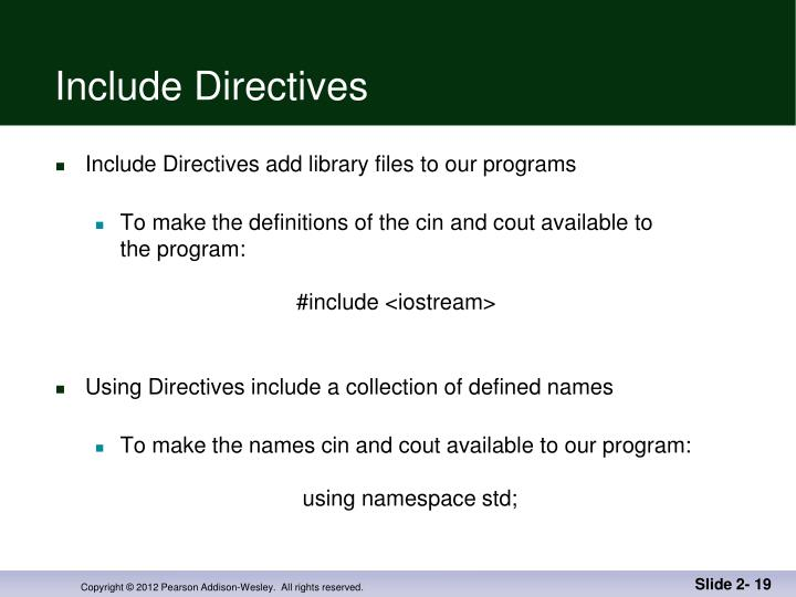 Include Directives