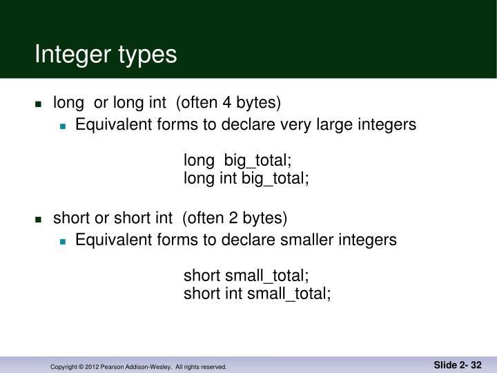 Integer types