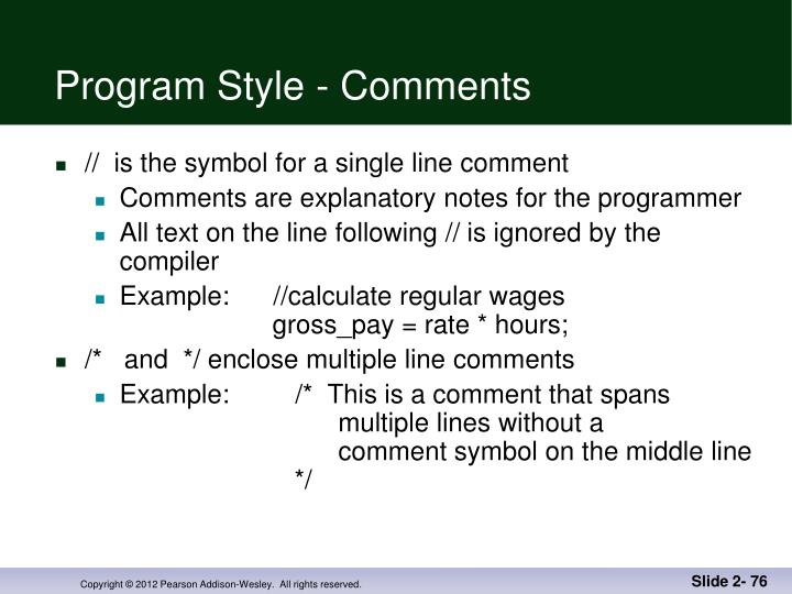 Program Style - Comments