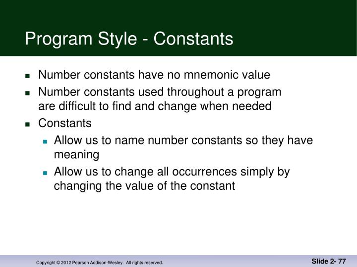 Program Style - Constants