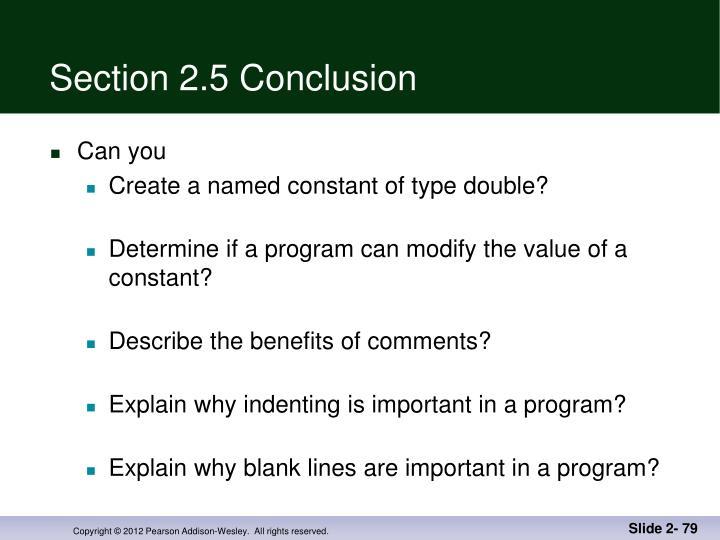 Section 2.5 Conclusion