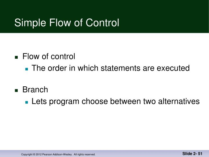 Simple Flow of Control