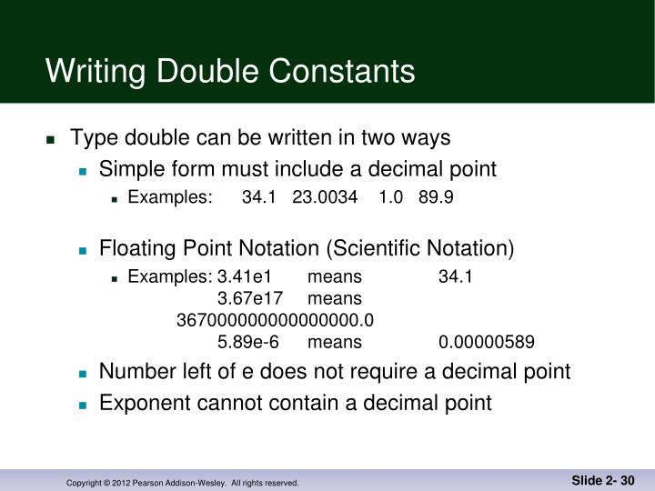 Writing Double Constants