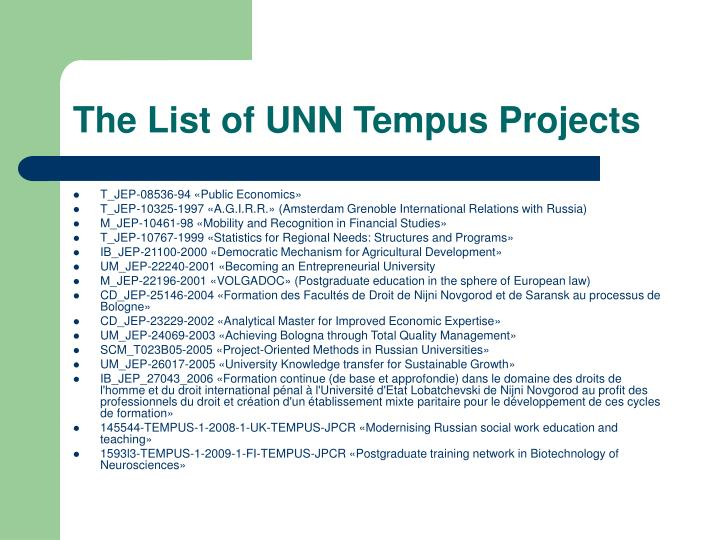 The List of UNN Tempus Projects