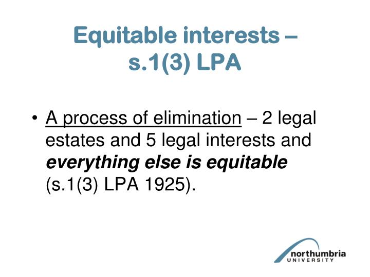 Equitable interests –