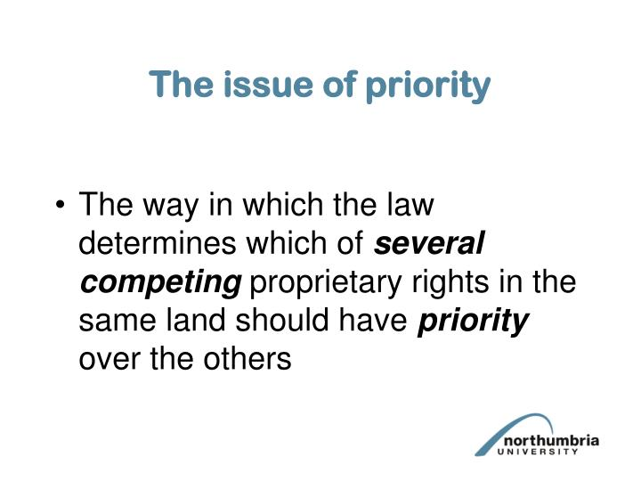 The issue of priority