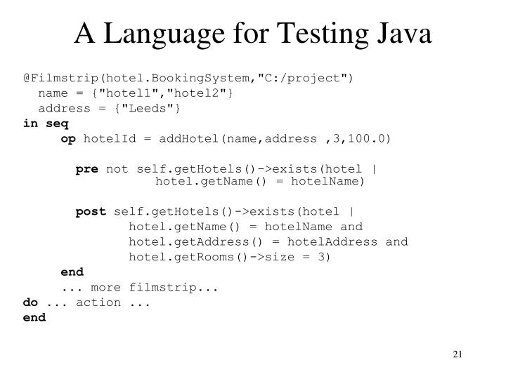 A Language for Testing Java