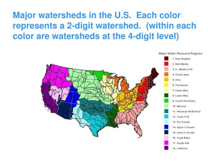 Major watersheds in the U.S.  Each color represents a 2-digit watershed.  (within each color are watersheds at the 4-digit level)