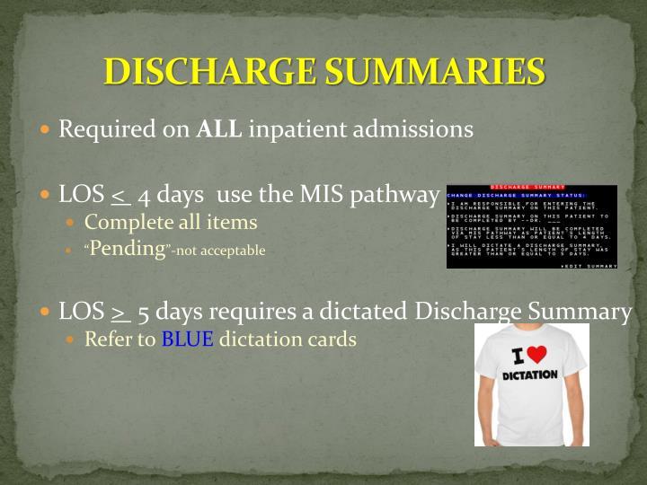 DISCHARGE SUMMARIES