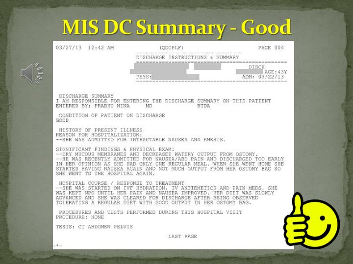 MIS DC Summary - Good