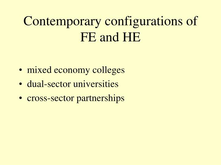 Contemporary configurations of FE and HE