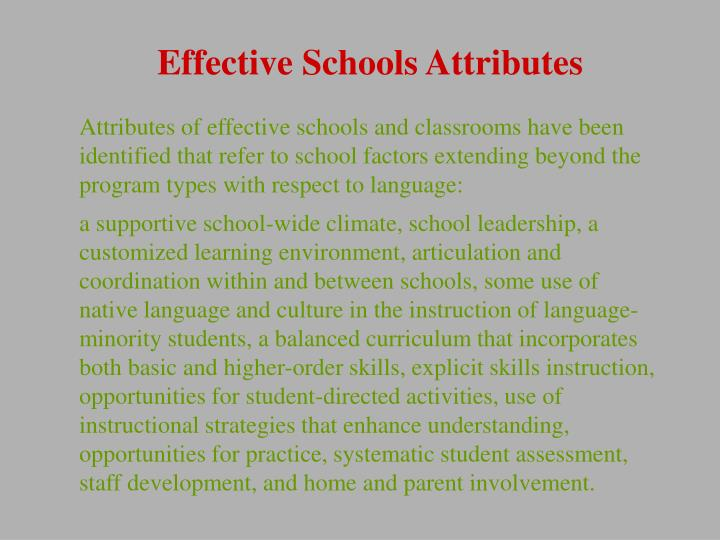 Effective Schools Attributes