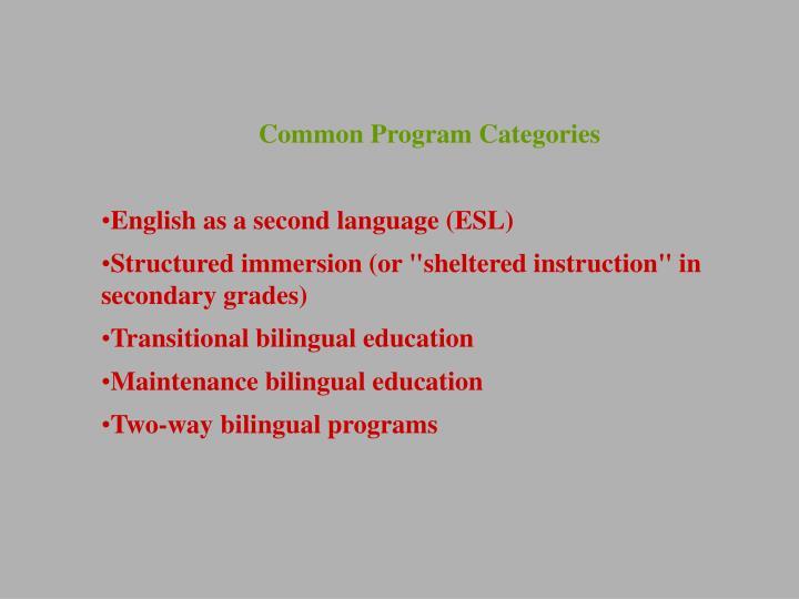 Common Program Categories
