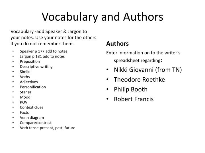 Vocabulary and authors