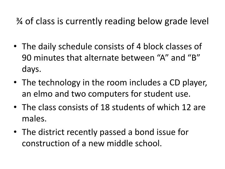 ¾ of class is currently reading below grade level