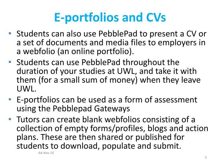 E-portfolios and CVs
