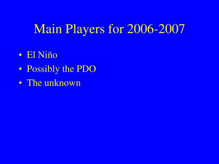 Main Players for 2006-2007