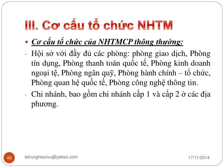 III. Cơ cấu tổ chức NHTM