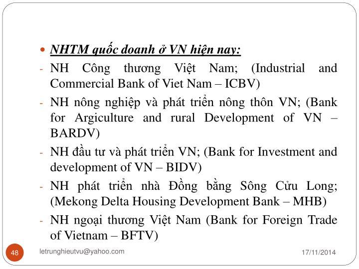 NHTM quốc doanh ở VN hiện nay: