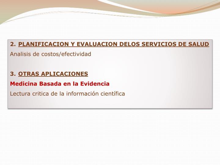 PLANIFICACION Y EVALUACION DELOS SERVICIOS DE SALUD