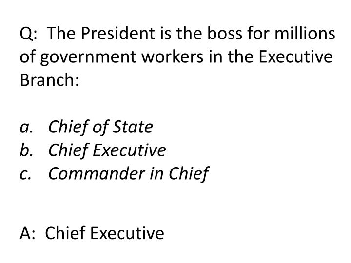 Q:  The President is the boss for millions