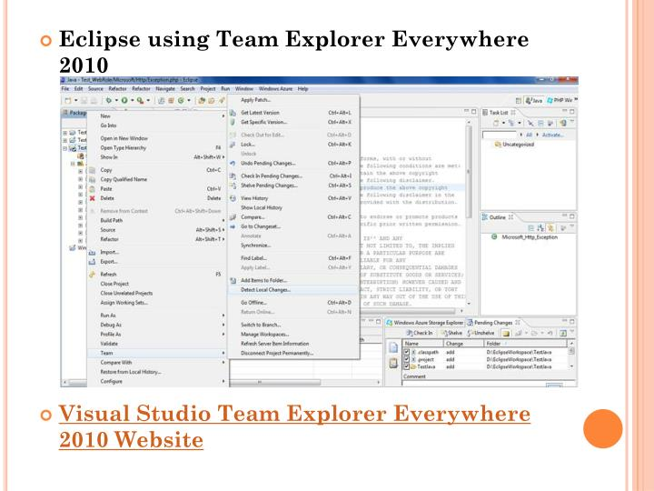 Eclipse using Team Explorer Everywhere 2010