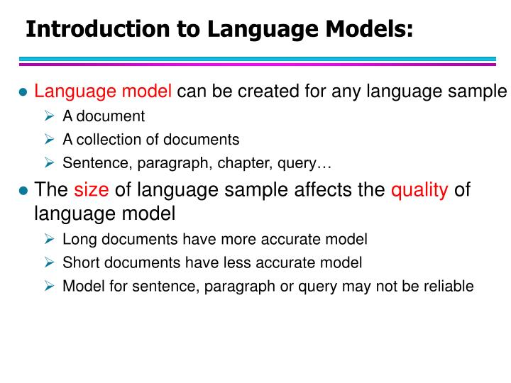 Introduction to Language Models: