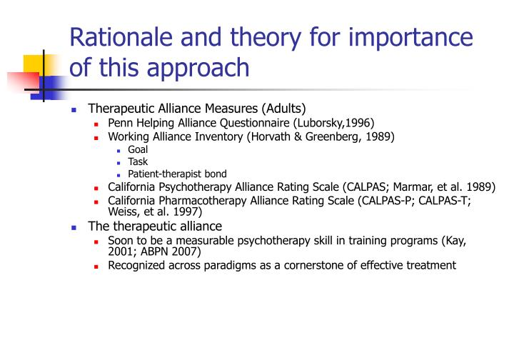 Rationale and theory for importance of this approach