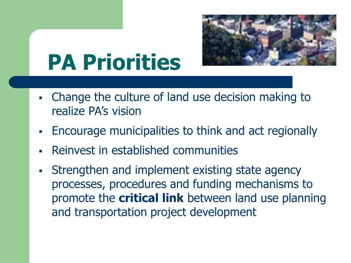 PA Priorities