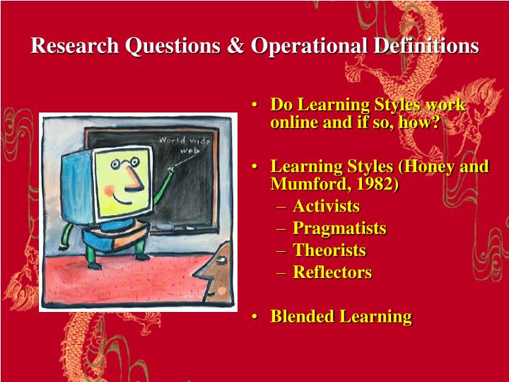 Research questions operational definitions