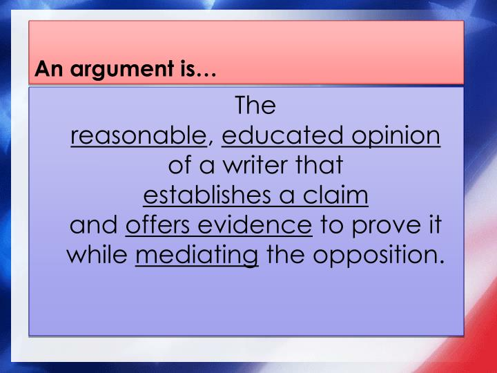 An argument is…
