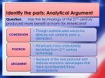 identify the parts analytical argument1