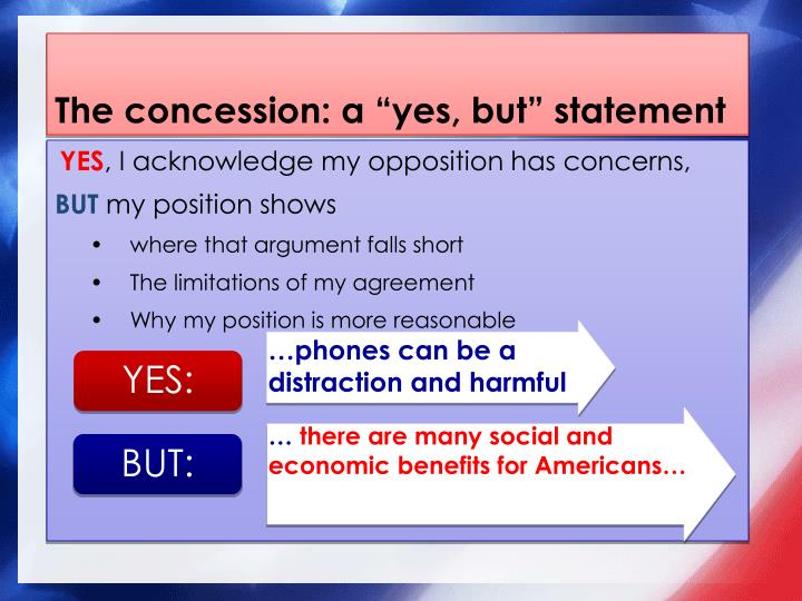 """The concession: a """"yes, but"""" statement"""