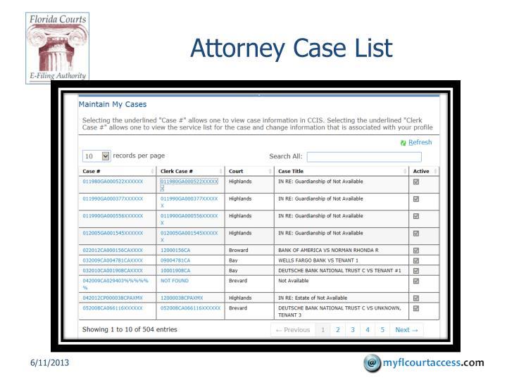 Attorney Case List