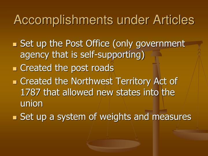 Accomplishments under Articles