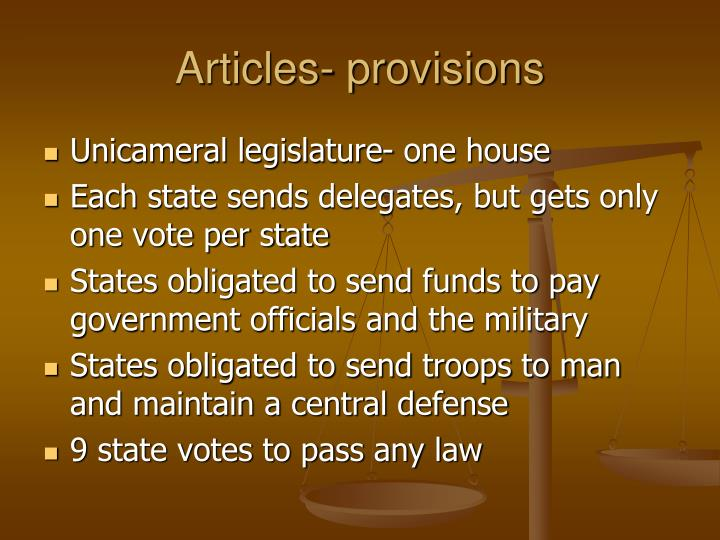 Articles- provisions