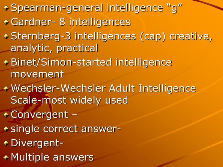 """Spearman-general intelligence """"g"""""""