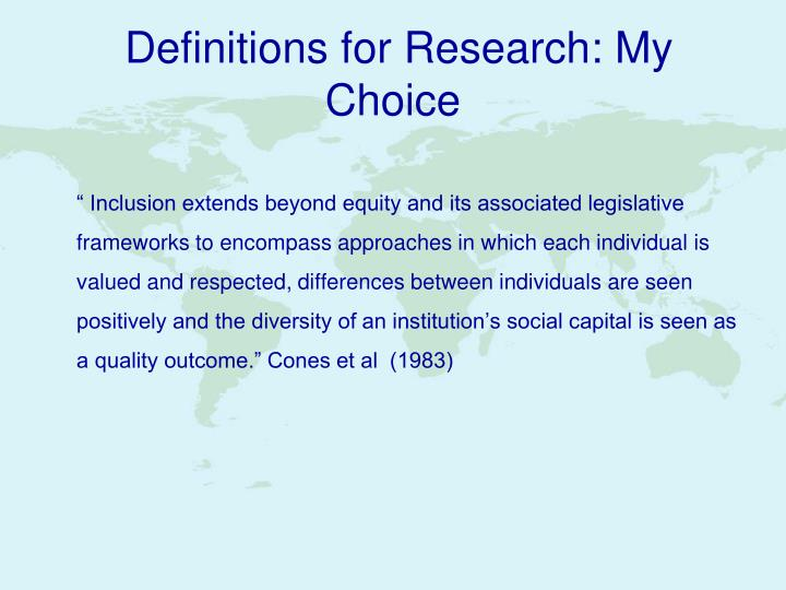 Definitions for research my choice