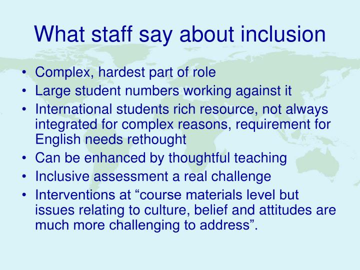 What staff say about inclusion