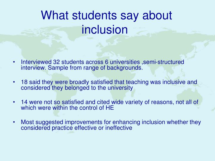 What students say about inclusion