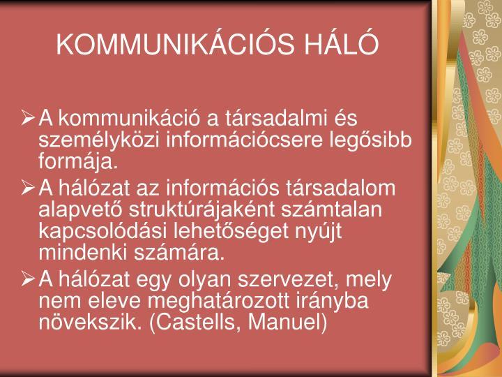 KOMMUNIKÁCIÓS HÁLÓ