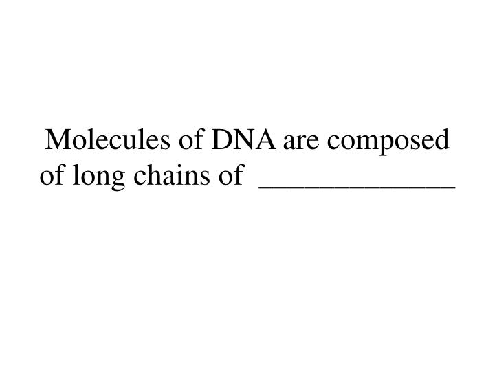 Molecules of DNA are composed of long chains of  _____________