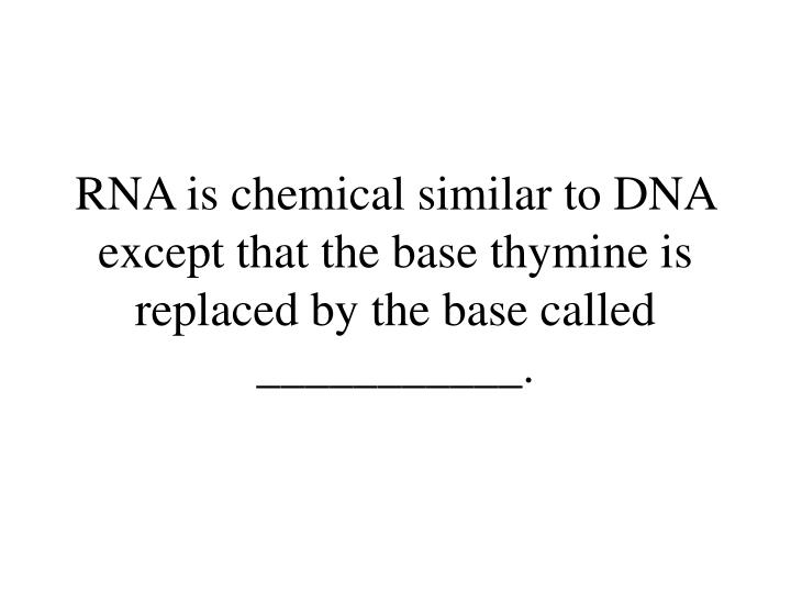 RNA is chemical similar to DNA except that the base thymine is replaced by the base called ___________.