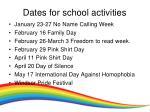 dates for school activities