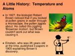 a little history temperature and atoms