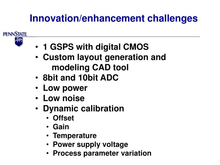Innovation/enhancement challenges