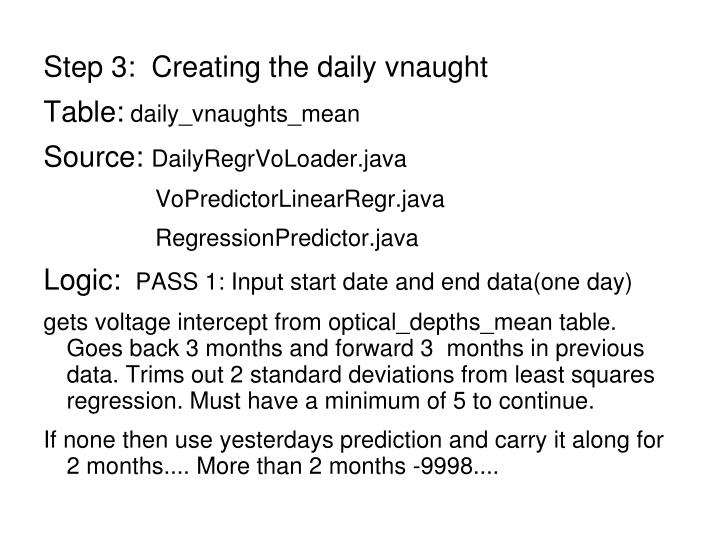 Step 3:  Creating the daily vnaught